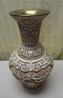 VTG Chinese Carved Cinnabar Style Faux Resin & Brass Vase Scroll & Birds