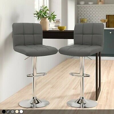 Set of 2 x Faux Leather Breakfast Bar Stool Swivel Kitchen Chrome & Gas Lift