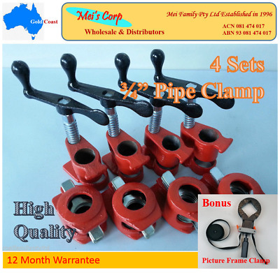 "Gluing Pipe Clamp 3/4"" 4 Sets - Woodworking Vice Hand Tool"
