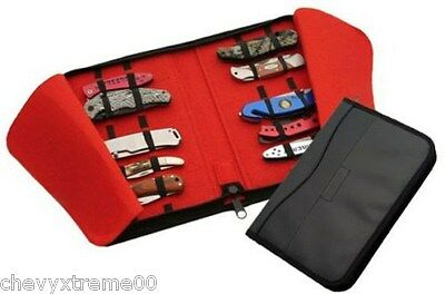 16 Folding Pocket Knife Roll Up Storage Display Case Collection Holder Black Red