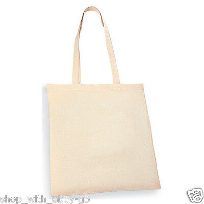 50 Plain Eco Natural Cotton Shopping Shoulder Tote Bags