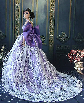 Purple Fashion Royalty Princess Party Dress/Clothes/Gown For Barbie Doll S-u153