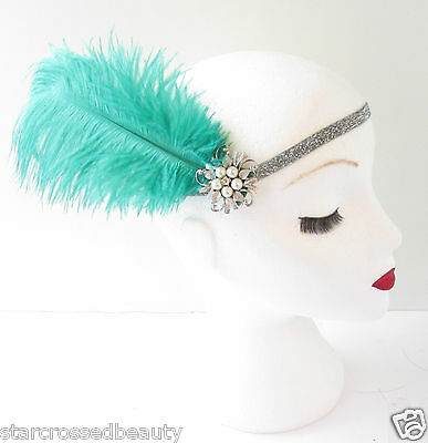 Green Silver Ostrich Feather Flapper Headpiece 1920s Vintage Headband Pearl L48