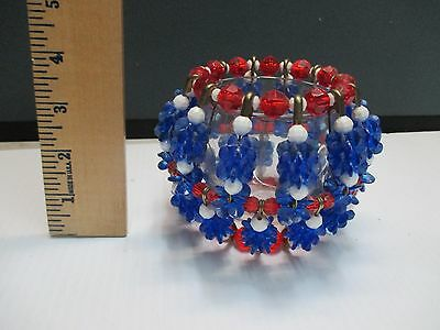 VINTAGE Beaded Handmade  Red White Blue  Votive Safety pin  Candle Holder