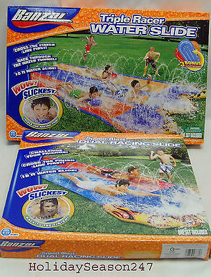 Banzai Summer Fun Water Sprayed 16Ft Backyard Racing  Slide Single Double Triple