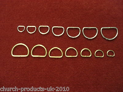 x10 Welded D-Rings Brass Plated & Nickel Plated Various sizes Webbing,Bag,Straps