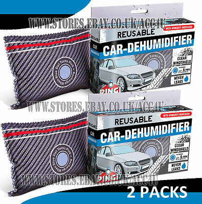 2 x Pingi Reusable Car Van Windscreen Demist Moisture Absorber Dehumidifier Bag