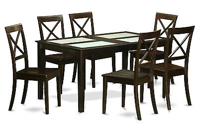 East West Furniture 7pc Dining Set Capri Kitchen Table With 6 Chairs Cuccino
