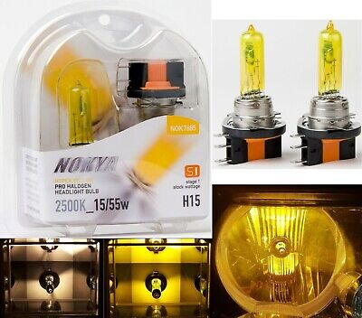 Nokya 2500K Yellow H15 Nok7685 15/55W Head Light Bulb Replace High Beam Daytime
