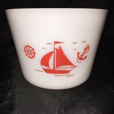 Vintage Mckee Red Ships White Milk Glass  Canister Red Nautical Sailboat Designs