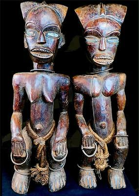 An Old Tribal Fang Pair  Reliquary Guardian Figures Gabon/Cameroon