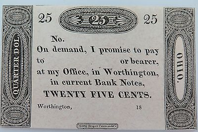1819 Ohio Ezra Worthington Uncirculated 25 Cent Note Graded By Downies Australia