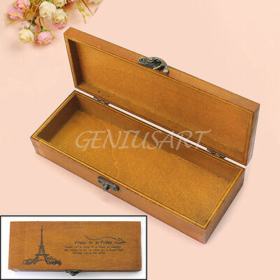 Vintage Wooden Eiffel Tower Storage Pen Pencil Jewelery Case Stationery Box Hot