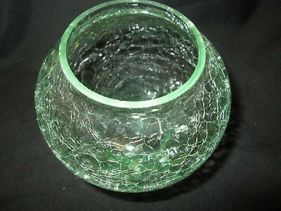 VIVID GREEN CRACKLE ART GLASS SMALL ORCHID ROSE BOWL