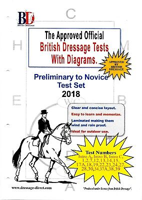 2017 2018 INTRO PRELIMINARY NOVICE Dressage Test Set with Diagrams A4 Laminated