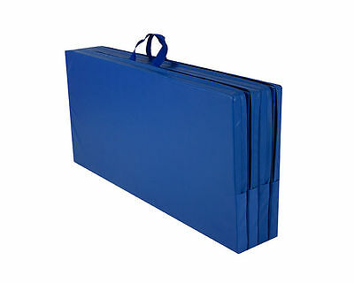 Cannons UK Blue Foldable Double GYMNASTICS Mat 8ft x 4ft x 50mm with Handles