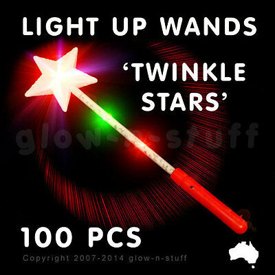 100 X Flashing 37Cm Light Up Star Wand Party Led Glow In The Dark Disco Rave