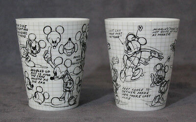 Disney Pair of Mickey Mouse & Minnie Mouse Sketch Book Coffee Cups Mugs 2008