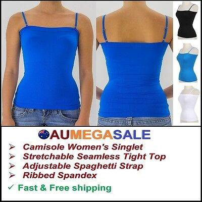 Women Basic Solid Cami Camisole Tight Singlet Top Spaghetti Strap Ribbed Spandex
