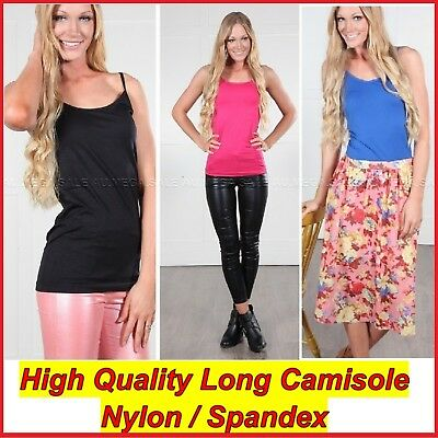 Long Cami Top Basic Tight Women Singlet Adjustable Strap  Spandex