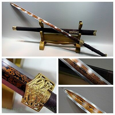 "102'cm HIGH QUALITY CHINESE SWORD ""HAN JIAN ""(劍) RED PATTERN STEEL SHARP BLADE"