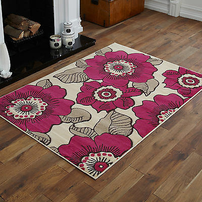 New Small Medium Large Cream Beige Pink Flower Design Cheap Cost Rug Carpet Mat