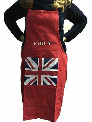 Personalised Union Jack Flag Cotton Cooking Chef Adult Apron Kitchen Choose Name