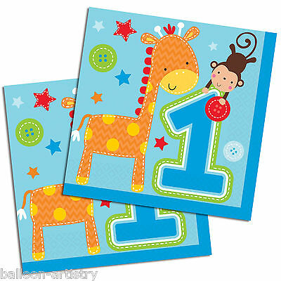 16 Wild Fun To Be One Blue Boy's 1st Birthday Party 33cm Paper Napkins