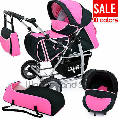 Baby pram 3in1+ stroller + pushchair +Buggy+Travel System+103cols.+FAST FREE P&P