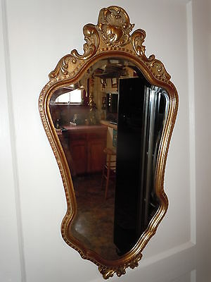 ANTIQUE FRENCH ORNATE GOLD GILD MIRROR BEVELED NICE EUROPEAN QUALITY VINTAGE OLD