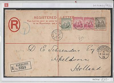GB BARBADOS 1892 REGISTERED LETTER TO HOLLAND VIA LONDON Samwells Covers M97