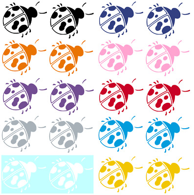 Ladybug - Set Of 2 - Vinyl Graphic Car Decal/Sticker - Choice Of 8 Colors