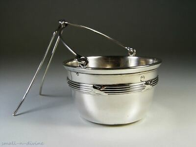 LOVELY FRENCH 1900 STERLING SILVER Lines & Crossed Ribbons TEA BASKET / BALL