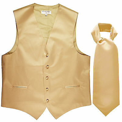 New Men's Formal Tuxedo Vest Waistcoat solid & Ascot cravat beige Prom