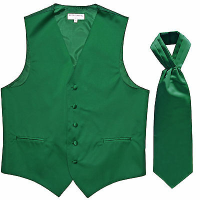 New Men's Formal Tuxedo Vest Waistcoat solid & Ascot cravat Emerald Green Prom