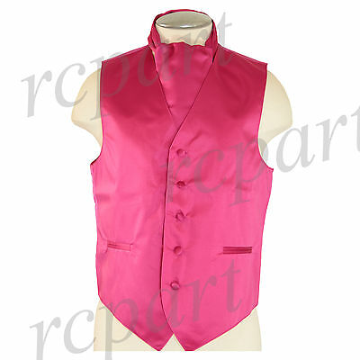 New Men's Formal Tuxedo Vest Waistcoat solid & Ascot cravat Hot Pink Prom