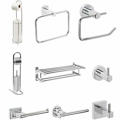 Bathroom Accessories Bath Towel Toilet Roll Holder Chrome Stand Wall Mount