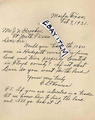 1931 LETTER from C.L. Thomas of MARFA TEXAS Hudspeth County Land Presidio Floyd
