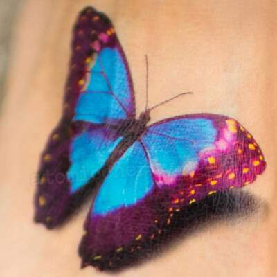 Realistic 3D Butterfly Temporary Tattoo Flash Rockabilly Retro Pin Up Pretty