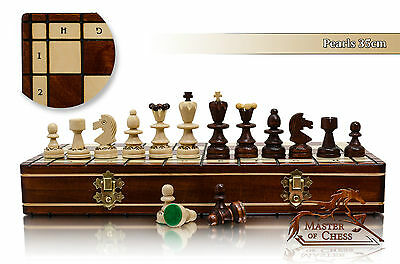 Stunning PEARL DLX! 35cm Wooden Chess Set with Burnt Design on Every Piece