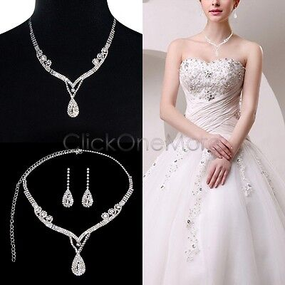 SAI - Clear Austrian Rhinestone Crystal Necklace Earring Set Bridal Prom Wedding