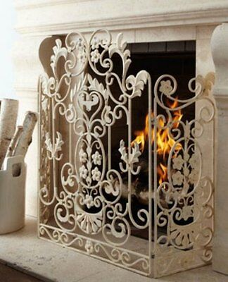 NEW Neimanmarcus Shabby Floral CHIC SCROL Antique White Fireplace Screen Horchow