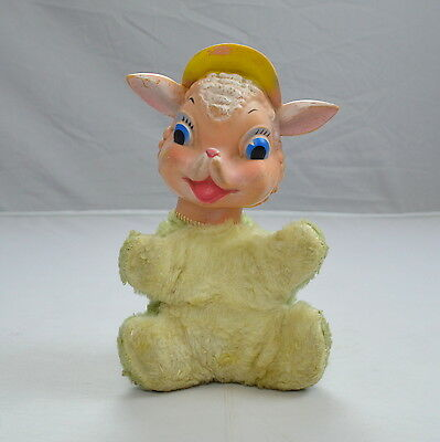 Vtg MY TOY Rubber Face Sheep Lamb Shaggy Stuffed Animal Toy Rushton Style Doll