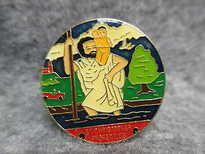 "St. Christopher Protect Us Colorful Enamel Lapel Or Hat Pin New NOS 1"" Diameter"
