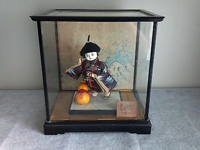 Vintage Collectible Japanese Geisha Girl Kimono Figurine Doll Japan in Glass Box