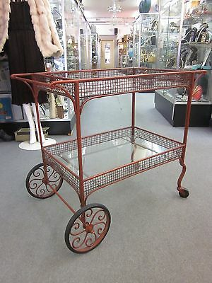 c1960s Woven Iron + Glass Decorative Two-Tier Bar/Tea Cart