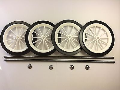 "4 x 6"" White Spoked Wheels With Axles & Spring Caps"