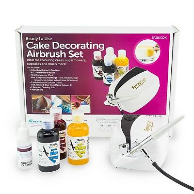 Professional Cake Decorating Airbrush Set Includes 3 Colours + Colour Chart