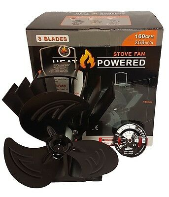 heat powered stove top fan & thermometer wood/coal fire burner
