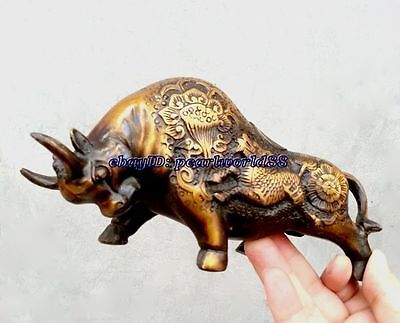Oriental old Rich Coins ox Wealth Money Bull Lucky  copper dragon statue